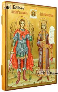 Семейная писаная икона со святыми: Михаилом и Ириной (вид сбоку)