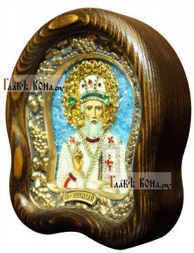 Николай Чудотворец (в митре) - вид иконы размером 14,5х17 см