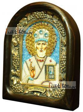 Николай Чудотворец (в митре, с голубыми камнями), икона бисером - вид сбоку