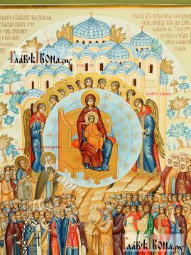 О тебе радуется, рукописная икона артикул 260 - детали Богородица
