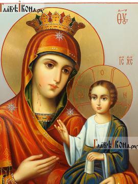 Икона Божией Матери Иверская, в живописном стиле, масло, артикул 5345 (детали)