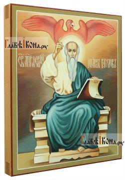 Иоанн Богослов (на троне, с орлом), написаная икона - вид сбоку