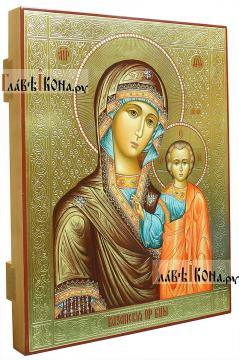 Казанская икона Божией Матери, оформление - чеканка и золочение (вид сбоку)