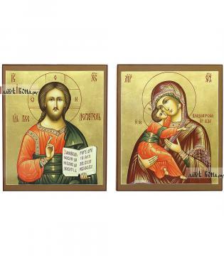 Венчальная пара с Владимирской на золоте, артикул 331