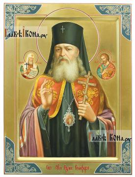Лука Крымский (с предстоящими), писана икона маслом на золотом фоне