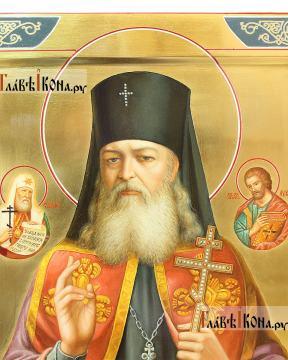 Лука Крымский (с предстоящими), писана икона маслом на золотом фоне - детали