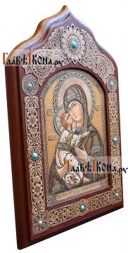 Владимирская икона писанная на бересте, размер 31х45 см - вид сбоку