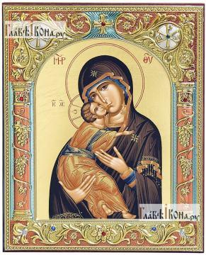 Икона Владимирская греческого производства, 12х14 см