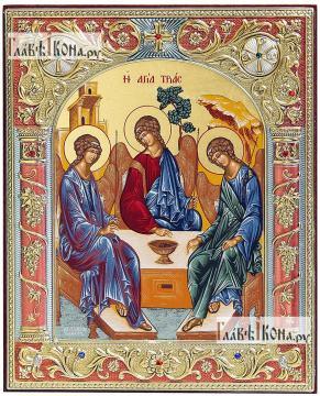 Святая Троица, икона шелкография в серебряном окладе, 12х14 см, с эмалью