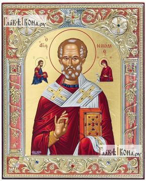 Николай Чудотворец, греческая серебряная икона, 12х14 см, эмаль