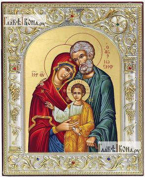 Святое Семейство, икона серебряная, греческая, 12х14 см