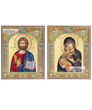Венчальная пара икон с Владимирской, в окладах, греческие