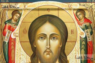 Спас Нерукотворный (с Ангелами), рукописная икона, размер 27х31 см - детали