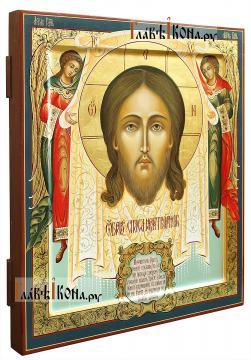 Спас Нерукотворный (с Ангелами), рукописная икона, размер 27х31 см - вид сбоку