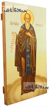 Савва Сторожевский, рукописная икона мерная (ширина 30 см) - вид сбоку