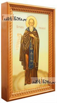 Савва Сторожевский, рукописная икона мерная (ширина 30 см) - вид в киоте сбоку