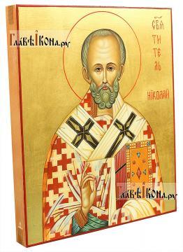 Писаная икона святителя Николая (без митры), с золочением фона - вид сбоку