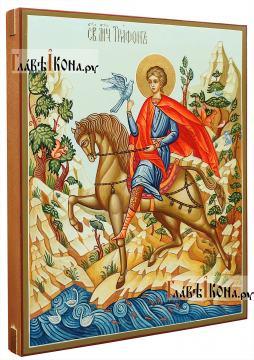 Рукописная икона святого Трифона, артикул 510 - вид сбоку