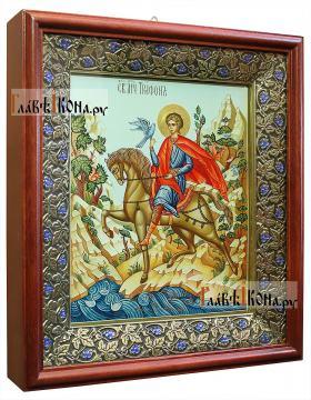 Рукописная икона святого Трифона, артикул 510 - вид в киоте