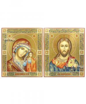Венчальная пара икон с Казанской, чеканка, золочение, роспись узорами