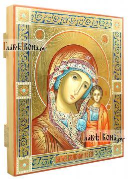 Венчальная пара икон с Казанской, чеканка, золочение, роспись узорами - вид Богородицы