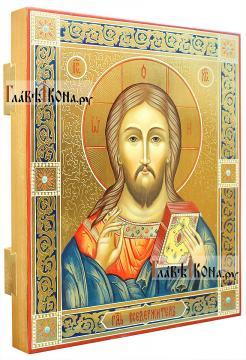 Писаная икоан Спасителя в подарочном оформлении: резьба, золото, узоры - вид сбоку