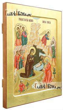 Писаная икона праздника Рождества Христова, артикул 411 - вид сбоку