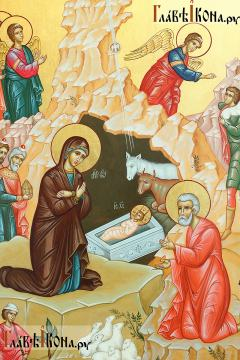 Писаная икона праздника Рождества Христова, артикул 411 - детали