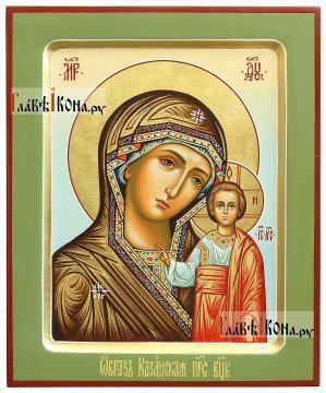 Образ Казанской Божией Матери, икона с зелеными полями, артикул 203