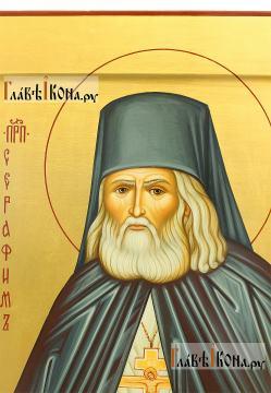 Святой Серафим Саровский, писаная икона на золотом фоне - лик