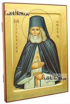 Святой Серафим Саровский, писаная икона на золотом фоне - вид сбоку