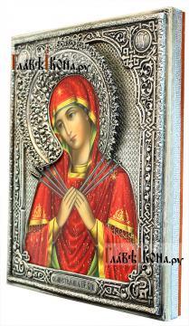 Семистрельная Божия Матерь, икона в серебряном окладе на доске - вид сбоку