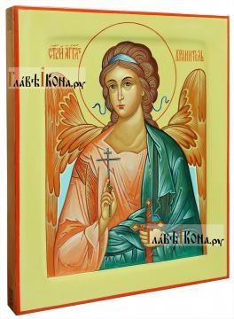 Ангел Хранитель, поясной, оливковый фон, писаная икона - вид сбоку