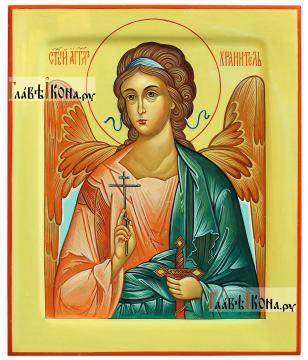 Ангел Хранитель, поясной, оливковый фон, писаная икона
