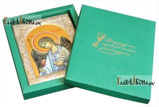 Ангел Хранитель, икона в ризе с классическим узором - вид с упаковкой