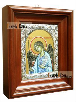 Ангел Хранитель, икона в ризе с классическим узором - вид в киоте сбоку