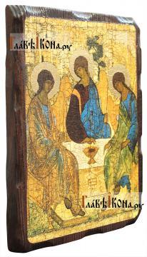 Троица, икона состаренная на дереве - вид сбоку