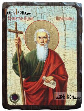 Андрей Первозванный, икона под старину на дереве, с мощевиком