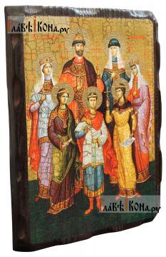 Царственные мученики, икона состаренная на дереве - вид сбоку