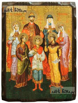 Царственные мученики, икона состаренная на дереве
