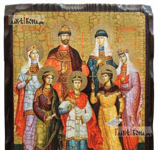 Царственные мученики, икона состаренная на дереве - детали ликов