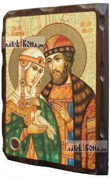 Петр и Феврония Муромские (поясные), икона состаренная 18х24 см - вид сбоку