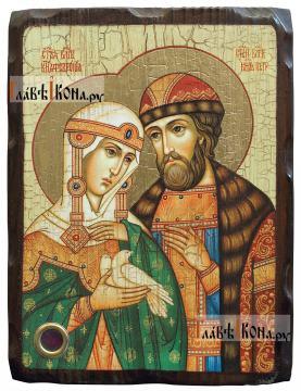 Петр и Феврония Муромские (поясные), икона состаренная 18х24 см