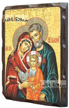 Святое Семейство, состаренная икона 18х24 см - вид сбоку