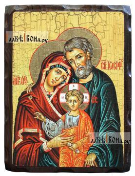 Святое Семейство, состаренная икона 18х24 см