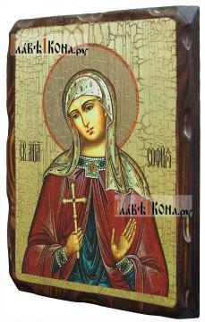 София Римская, состаренная икона 18х24 см - вид сбоку