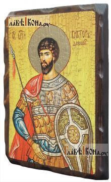 Виктор Дамасский, икона состаренная 18х24 см - вид сбоку