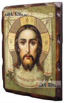 Спас Нерукотворный, живописный стиль - икона состаренная 18х24 см - вид сбоку