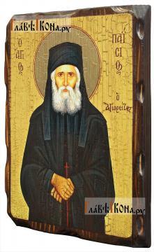 Паисий Святогорец, состаренная икона 18х24 см - вид сбоку