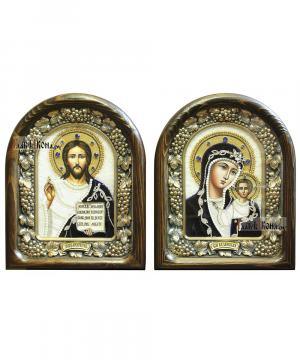 Венчальная пара икон из бисера с синим бархатом